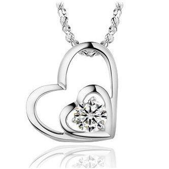 【米蘭精品】鑽石心型925純銀 項鍊 飾品墜子 /兩款選
