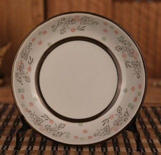 (唐草款)和田燒日式瓷盤酒店菜盤和風餐具陶瓷盤子碟子釉下彩圓盤飯盤