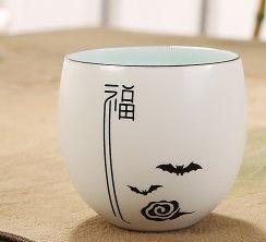 景德鎮陶瓷青瓷杯茶杯個人杯定窯品茗杯辦公創意水杯花茶杯