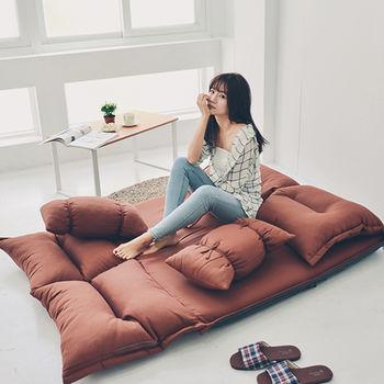 《舒適屋》簡約日系小資折疊沙發床/和室椅(附造型抱枕)