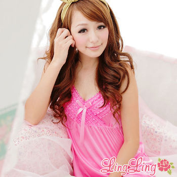 lingling日系 全尺碼-柔情蜜意層疊蕾絲二件式睡衣組(愛戀粉)A664-01