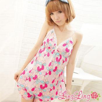 lingling日系 小尺碼-熱情花朵細肩帶兩件式睡衣組(嬌柔粉)A335-02