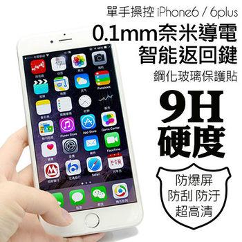 iPhone6 plus 超薄智能返回鍵/快捷鍵 鋼化玻璃保護貼
