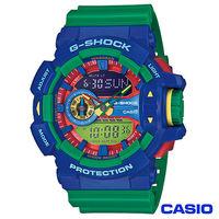 CASIO卡西歐 G ^#45 SHOCK街頭 多層次亮彩色系 雙顯錶 ^#45 藍x綠