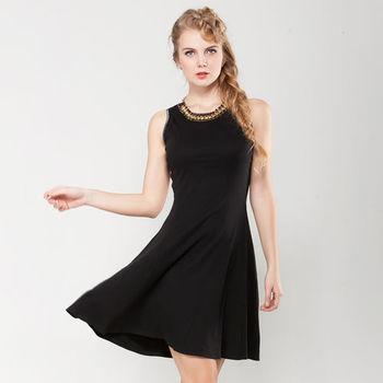 IFOREST  銀蔥滾邊裙襬洋裝(黑色)09712