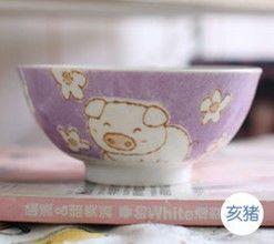 (豬)12十二生肖釉下彩創意陶瓷碗米飯碗餐具