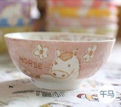 (馬)12十二生肖釉下彩創意陶瓷碗米飯碗餐具
