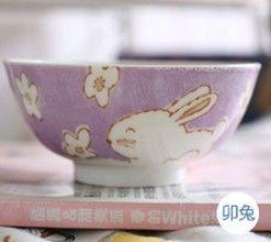 (兔)12十二生肖釉下彩創意陶瓷碗米飯碗餐具