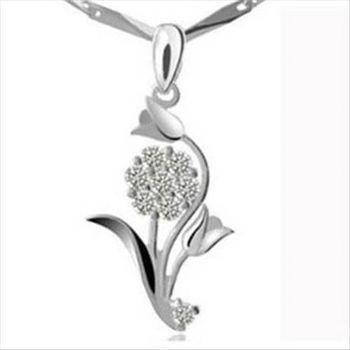 【米蘭精品】花朵925純銀 項鍊 飾品墜子