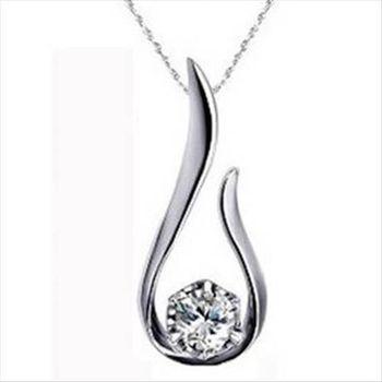 【米蘭精品】鑽石奇緣925純銀 項鍊 飾品墜子