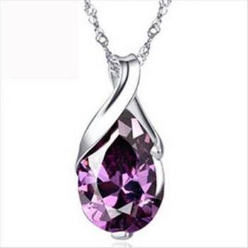 【米蘭精品】紫水晶925純銀 項鍊 飾品墜子