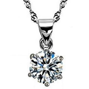 【米蘭精品】鑽石925純銀 項鍊 飾品墜子 /白色