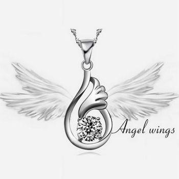 【米蘭精品】隱形翅膀925純銀 項鍊 飾品墜子 /兩色選