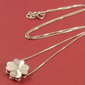 【米蘭精品】幸運草925純銀 項鍊 飾品墜子