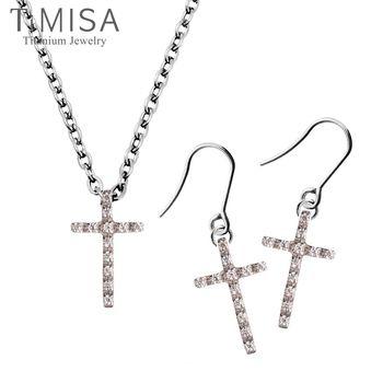 【TiMISA】迷你彩鑽十字(S) 項鍊+耳環套組