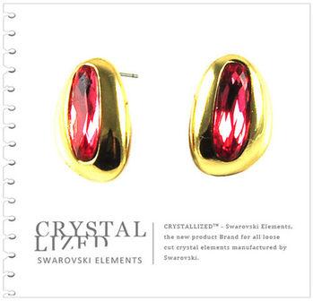 新光飾品-紅色魅影水滴水晶耳環