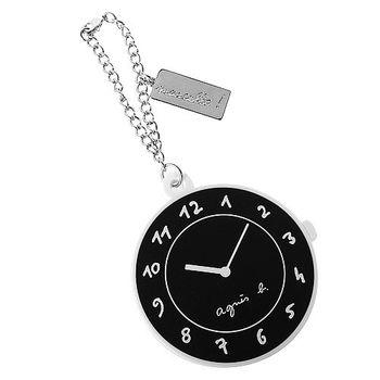 agnes b. 圓型時鐘包包掛飾擦拭布(黑)
