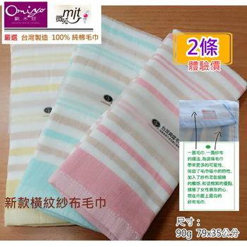 MIT商品【台灣興隆毛巾製】橫紋紗布毛巾(2條裝)