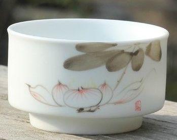 (D款)陶瓷亞光釉功夫茶具手彩繪大號品茗杯精品五彩青花瓷茶杯子