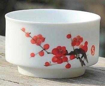 (C款)陶瓷亞光釉功夫茶具手彩繪大號品茗杯精品五彩青花瓷茶杯子