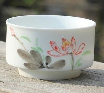 (B款)陶瓷亞光釉功夫茶具手彩繪大號品茗杯精品五彩青花瓷茶杯子