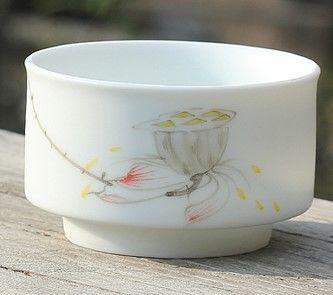 (A款)陶瓷亞光釉功夫茶具手彩繪大號品茗杯精品五彩青花瓷茶杯子