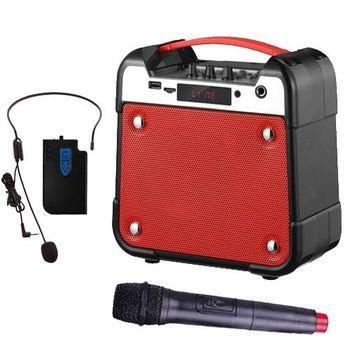 大聲公手提無線式多功能行動音箱/喇叭(雙無線式麥克風組)