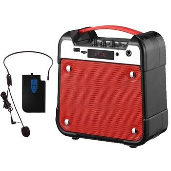 大聲公手提無線式多功能行動音箱/喇叭(無線耳掛式麥克風組)