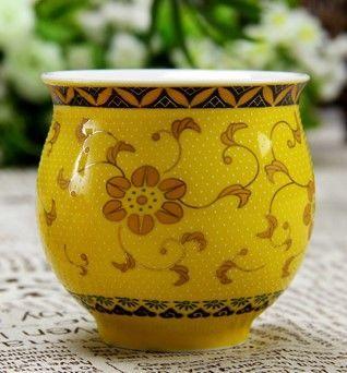 (黃金盞 )青花瓷不燙手茶杯