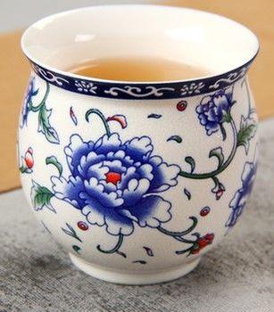 (牡丹 )青花瓷不燙手茶杯