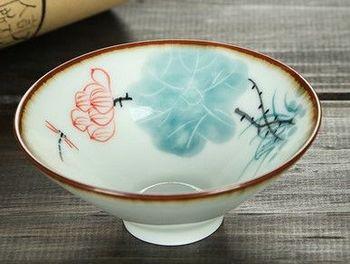 (迎夏吐芳)純手工繪粉彩功夫杯景德鎮青花茶杯荷花品茗茶杯陶瓷杯子