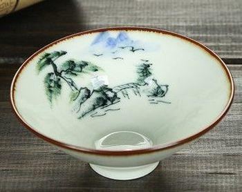 (手繪山水)純手工繪粉彩功夫杯景德鎮青花茶杯荷花品茗茶杯陶瓷杯子
