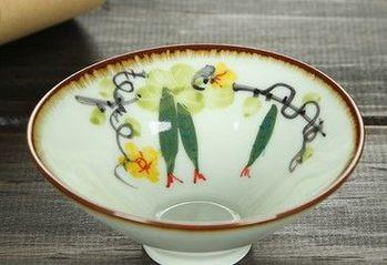 (手繪絲瓜)純手工繪粉彩功夫杯景德鎮青花茶杯荷花品茗茶杯陶瓷杯子
