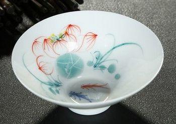 (荷塘情趣)純手工繪粉彩功夫杯景德鎮青花茶杯荷花品茗茶杯陶瓷杯子