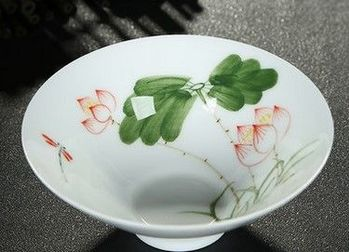 (花枝招展)純手工繪粉彩功夫杯景德鎮青花茶杯荷花品茗茶杯陶瓷杯子