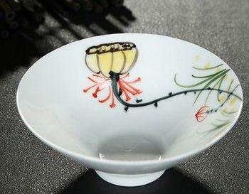 (成蓬結籽)純手工繪粉彩功夫杯景德鎮青花茶杯荷花品茗茶杯陶瓷杯子