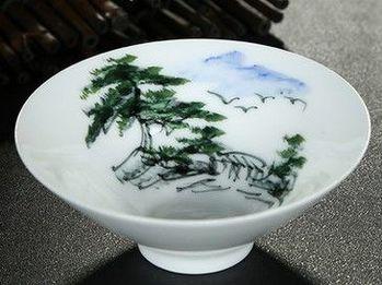 (山水人家)純手工繪粉彩功夫杯景德鎮青花茶杯荷花品茗茶杯陶瓷杯子