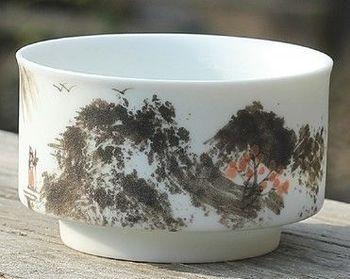 (N款)陶瓷亞光釉功夫茶具手彩繪大號品茗杯精品五彩青花瓷茶杯子