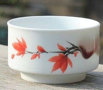 (M款)陶瓷亞光釉功夫茶具手彩繪大號品茗杯精品五彩青花瓷茶杯子