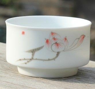 (J款)陶瓷亞光釉功夫茶具手彩繪大號品茗杯精品五彩青花瓷茶杯子
