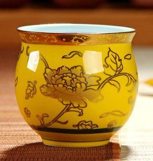 (黃金牡丹 )青花瓷不燙手茶杯