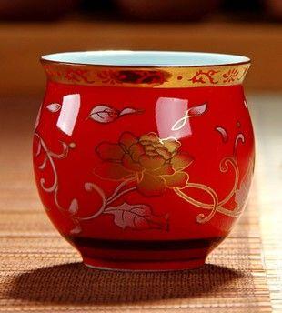 (紅金牡丹 )青花瓷不燙手茶杯
