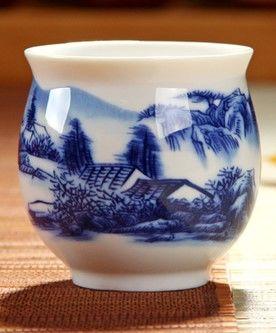 (山水 )青花瓷不燙手茶杯