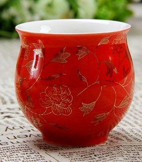 (紅金葉子 )青花瓷不燙手茶杯