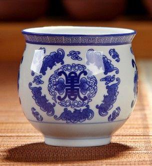 (五福  )青花瓷不燙手茶杯