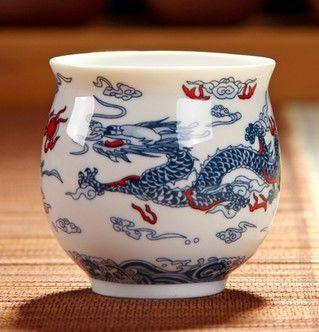 (白龍 )青花瓷不燙手茶杯