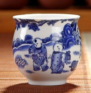 (戲童圖)青花瓷不燙手茶杯