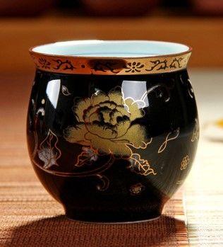 (黑色牡丹 )青花瓷不燙手茶杯