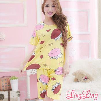 lingling日系 全尺碼-牛奶絲可愛乳牛二件式睡衣組(俏皮黃)A1609-03