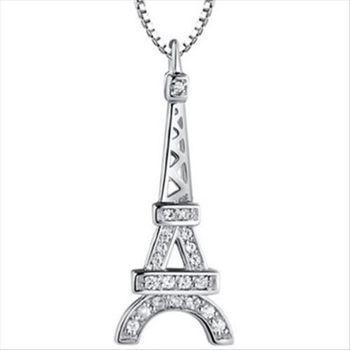 【米蘭精品】巴黎鐵塔925純銀 項鍊 飾品墜子